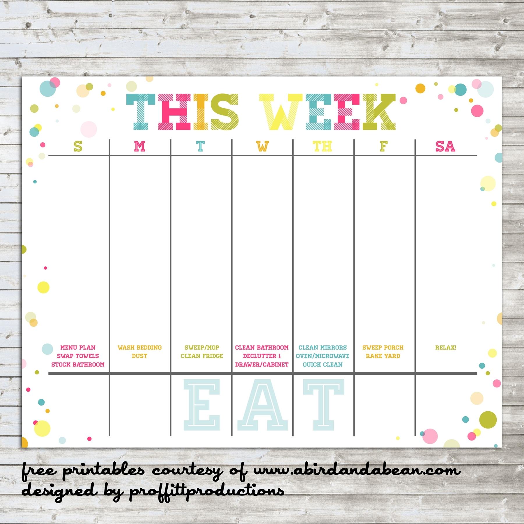 Peek At The Week Free Printable | Example Calendar Printable