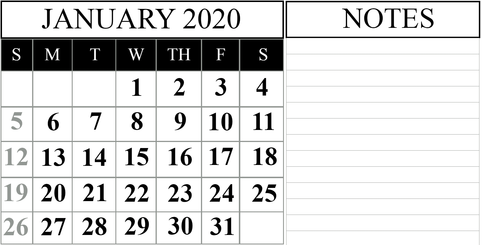 Pick 2020 Calendar With Spaces To Write On Free | Calendar Printables Free Blank