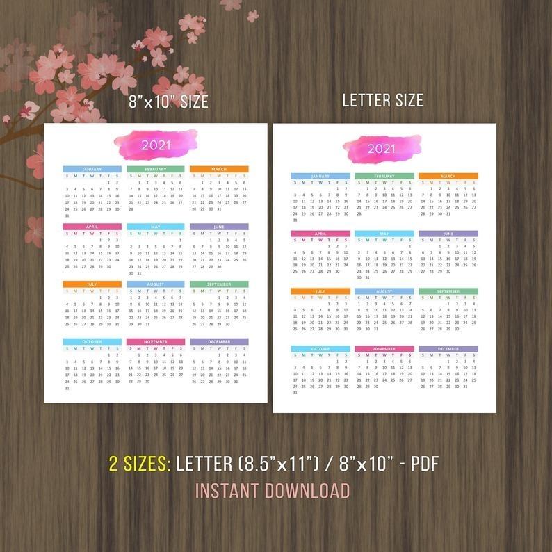 Planner Printable Calendar 2020 2021 Desktop Calendar Wall | Etsy