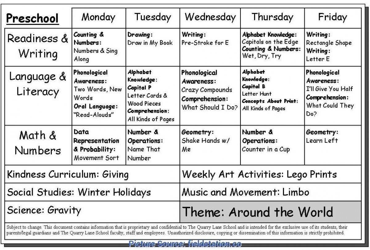 Preschool Weekly Lesson Plans Print It   Example Calendar Printable