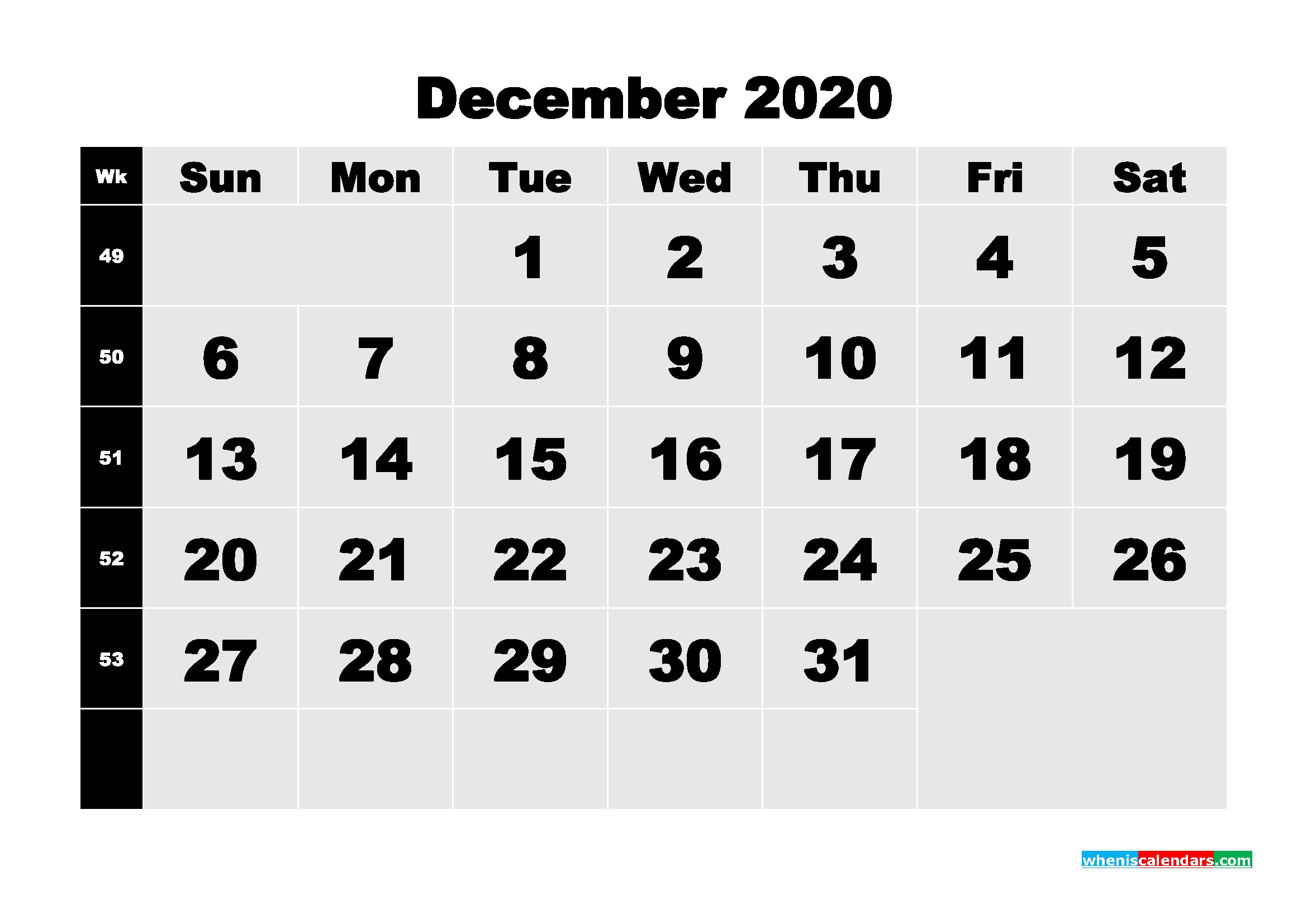 Printable 2020 Monthly Calendar With Week Numbers December - Free Printable 2020 Monthly