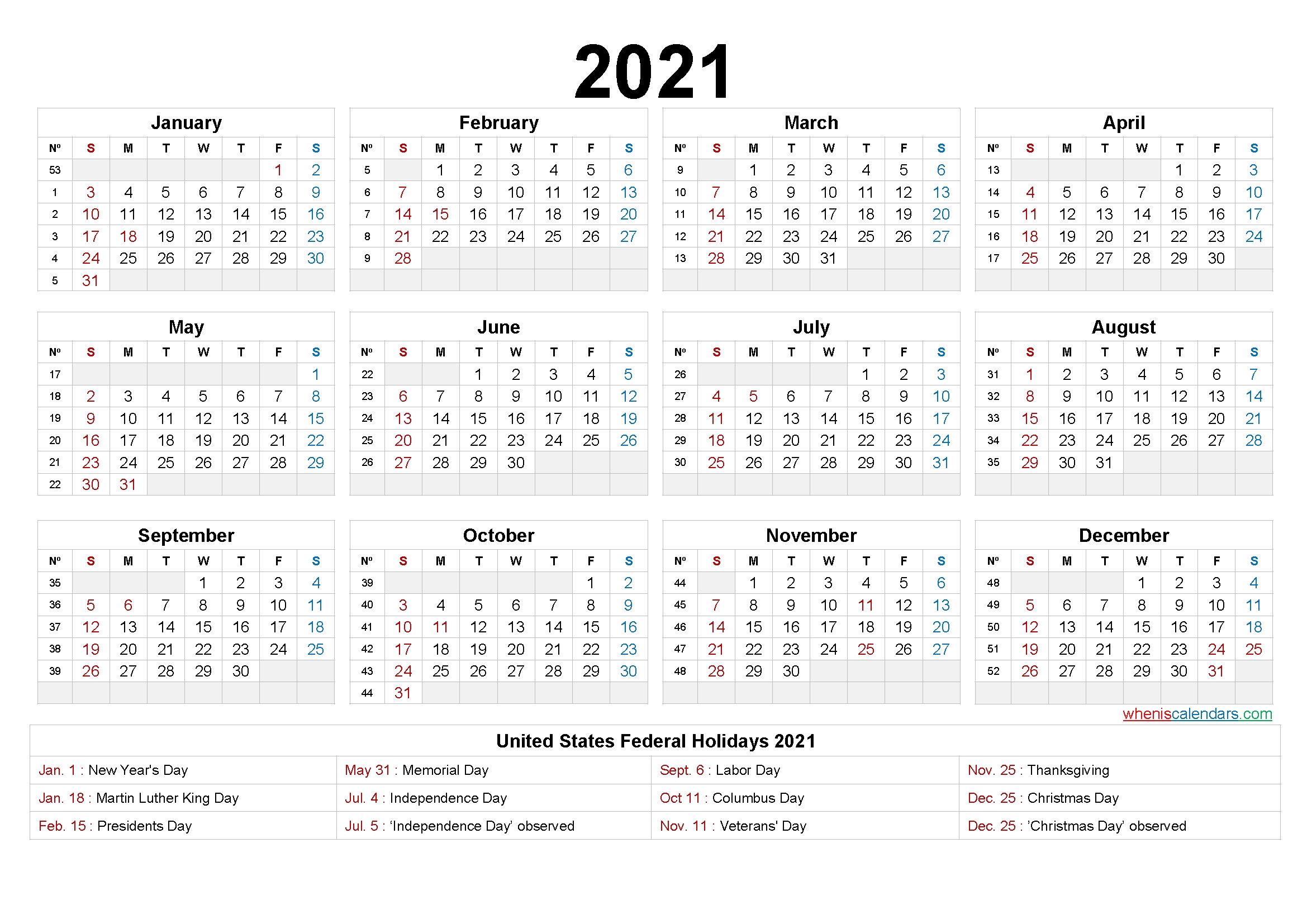 Printable 2021 Calendar One Page - 6 Templates   Free Printable 2020 Calendar With Holidays