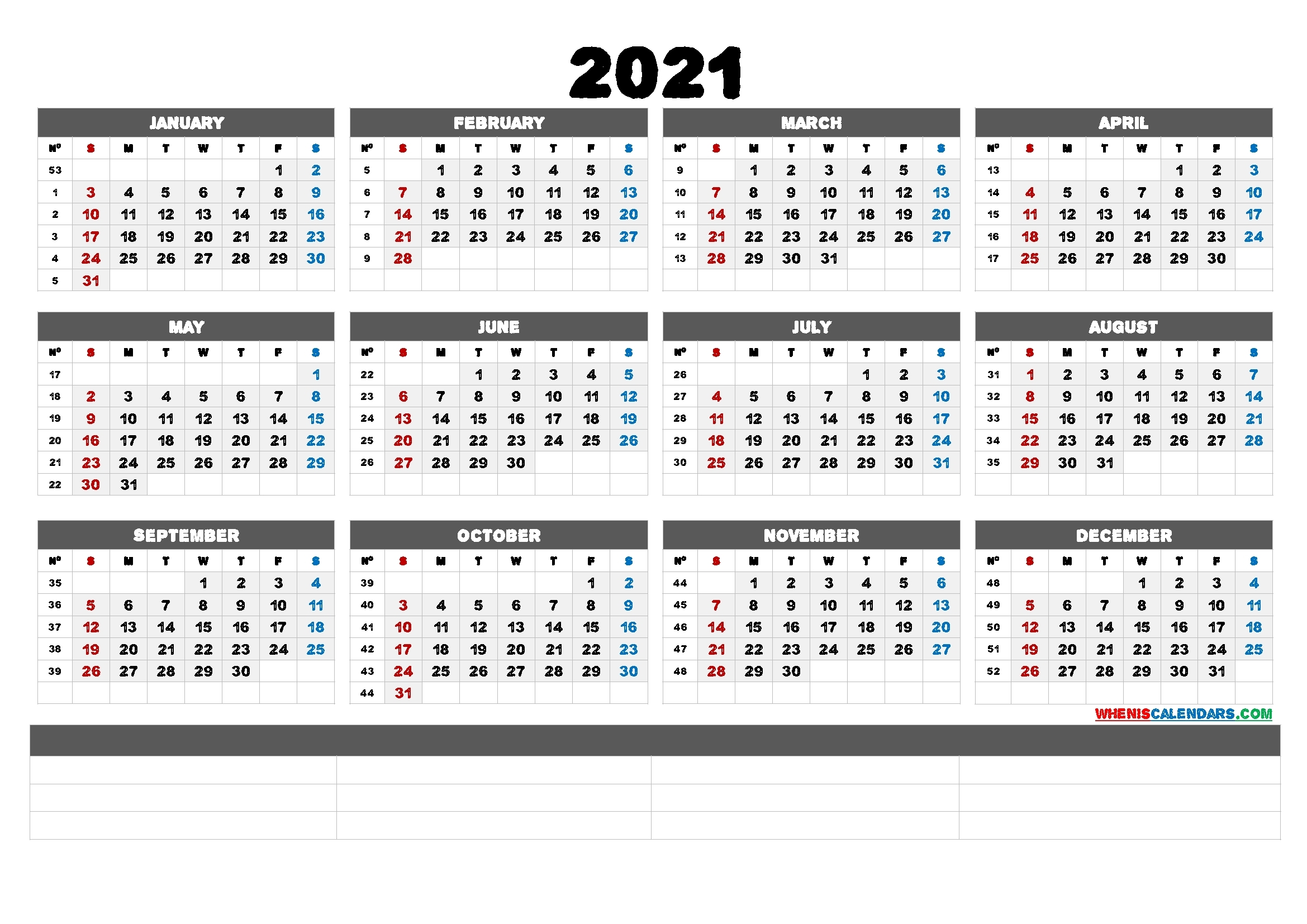 Printable 2021 Calendar With Week Numbers (6 Templates) | Free Printable 2020 Calendar With Holidays