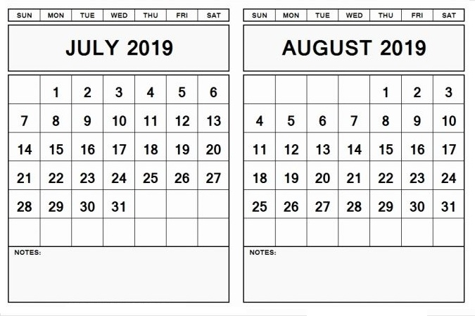 Printable August September 2019 Calendar Template | Printable Calendar & Holidays 201
