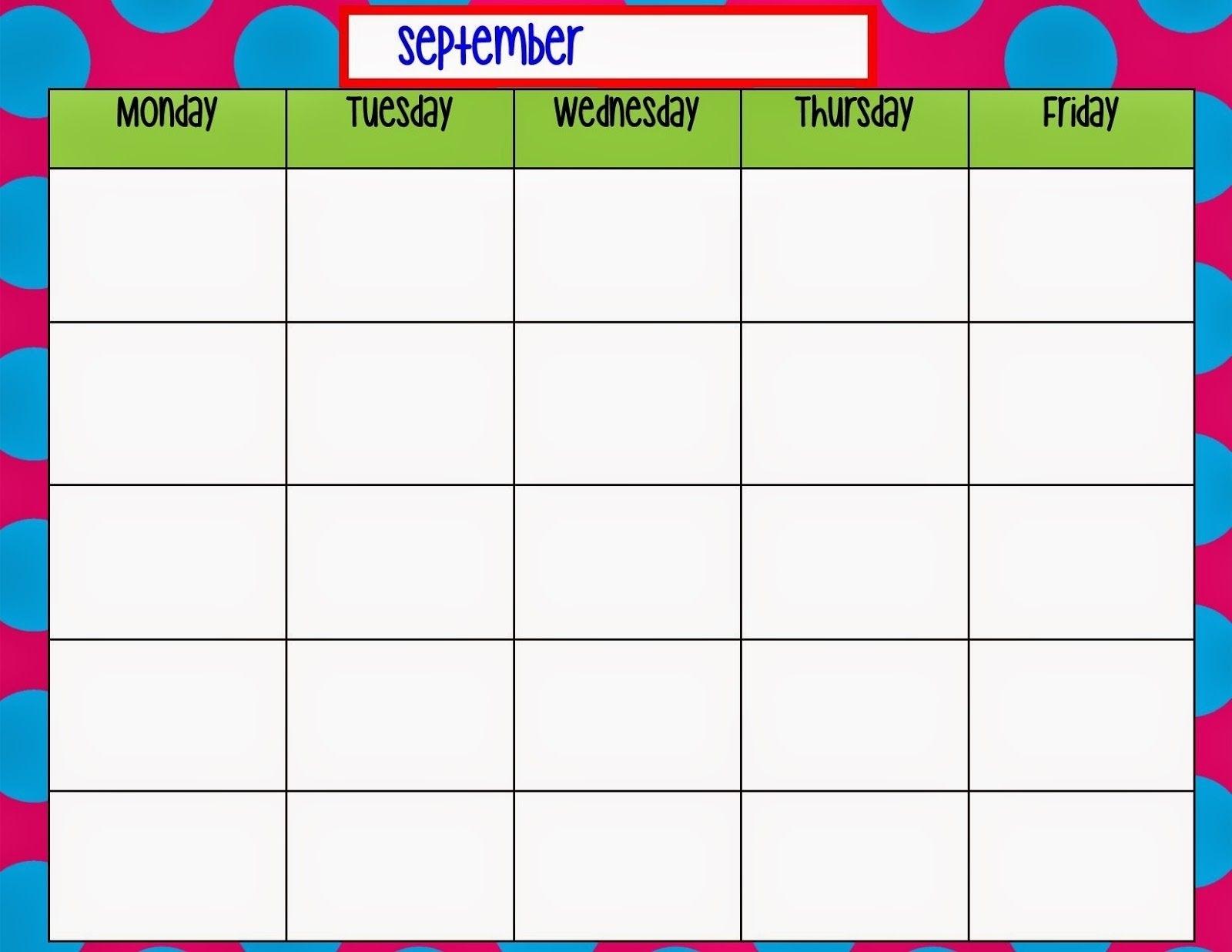 Printable Calandar From Monday Thru Sunday :-Free Calendar Template
