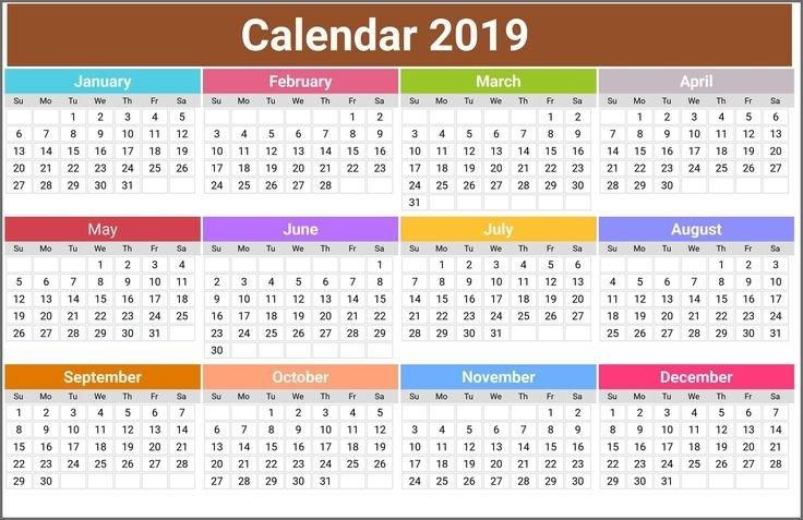 Printable Calendar 2019 #Calendar2019 #Printablecalendar2019 | Printable Calendar Template
