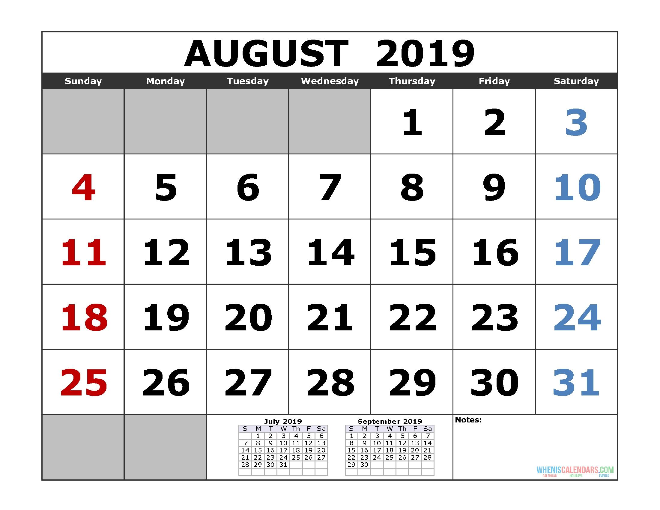 Printable Calendar 2020 Large Numbers | Free Printable Calendar