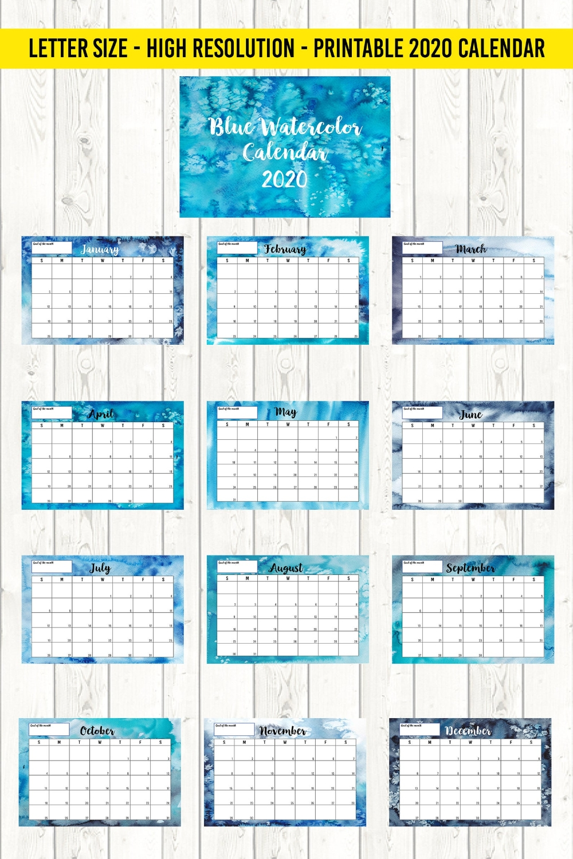 Printable Calendar 2020, Letter Size 8,5X11, Blue Watercolor 12 Month Wall Calendar, Monday