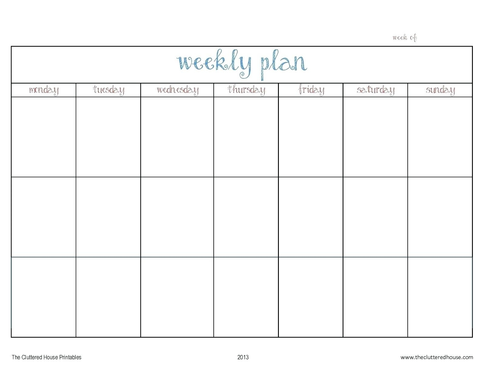 Printable Calendar Monday Through Friday | Example Calendar Printable
