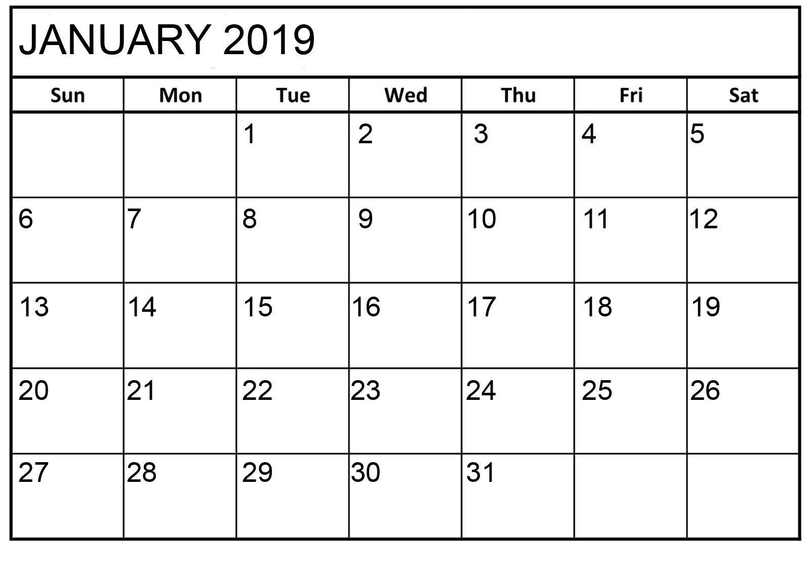 Printable Calendar Monthly 2019-2020 Free 11X17 Large Boxes - Calendar Inspiration Design
