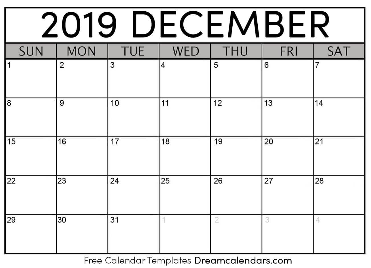 Printable December 2019 Calendar | Apache Openoffice Templates
