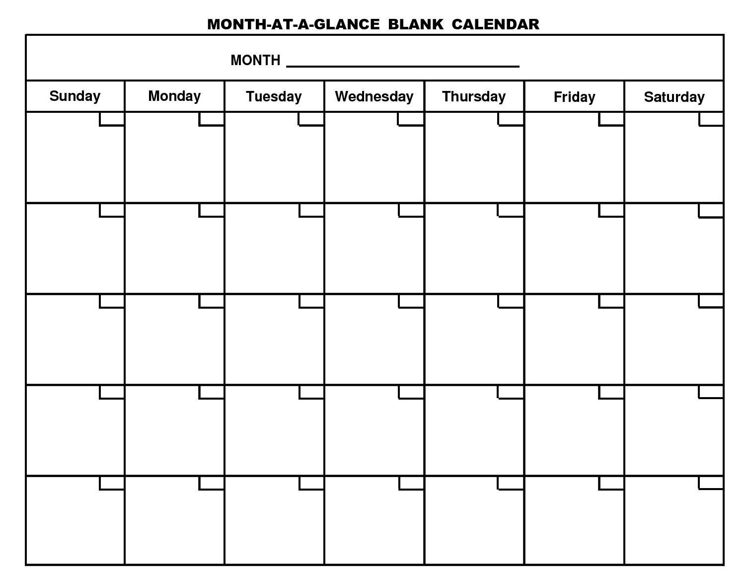 Printable Monthly Calendar Sunday To Saturday No Dates | Example Calendar Printable