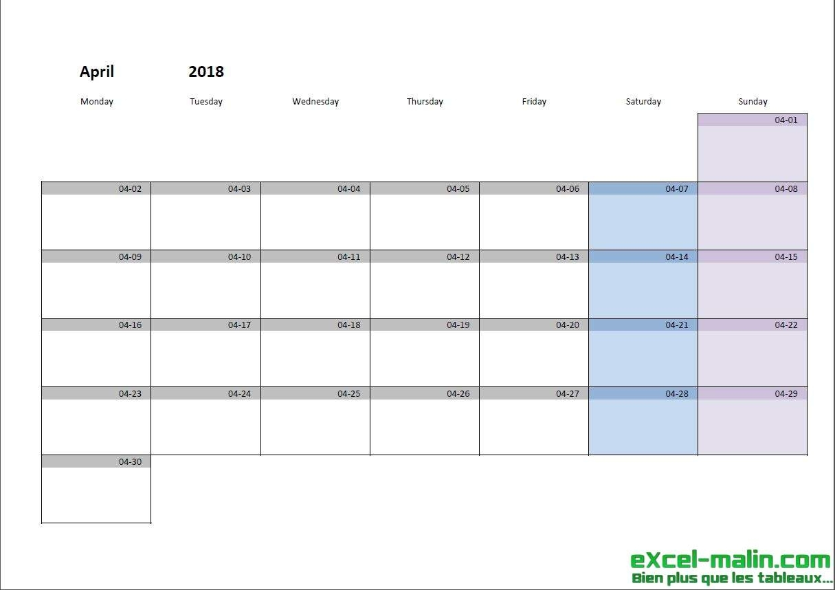 Printable Monthly Calendar Template For Excel | Excel-Malin