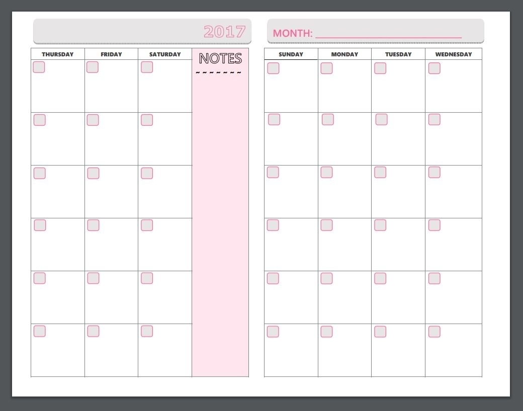 Printable Monthly Organiser Pages Monday To Sunday - Calendar Inspiration Design