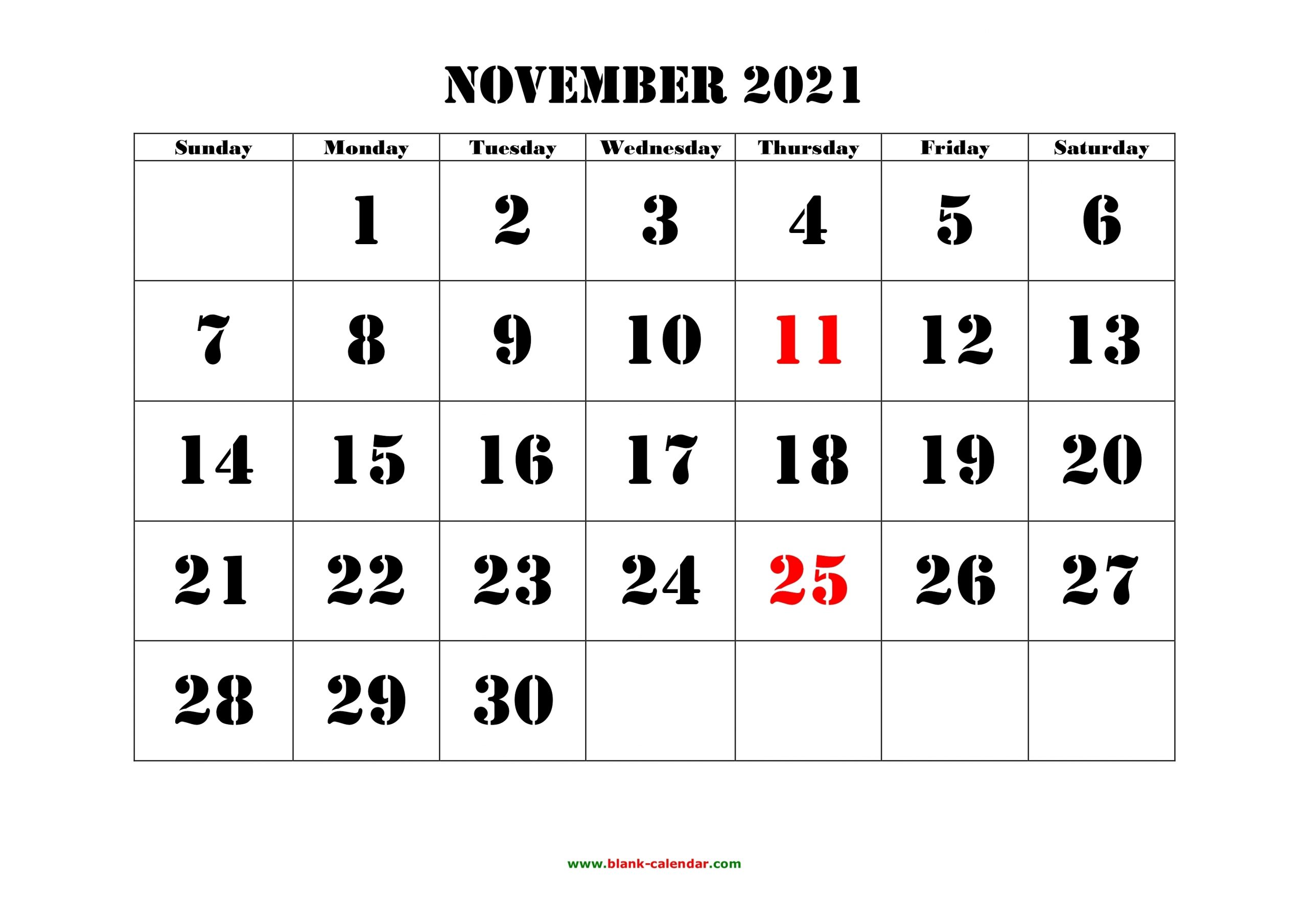 Printable November 2021 Calendar Word | Lunar Calendar