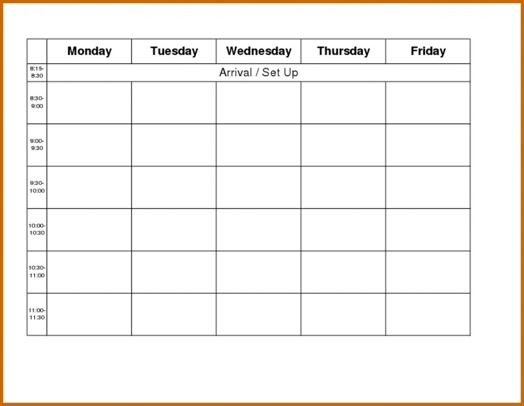 Printable Weekly Calendar Monday Thru Friday   Example Calendar Printable