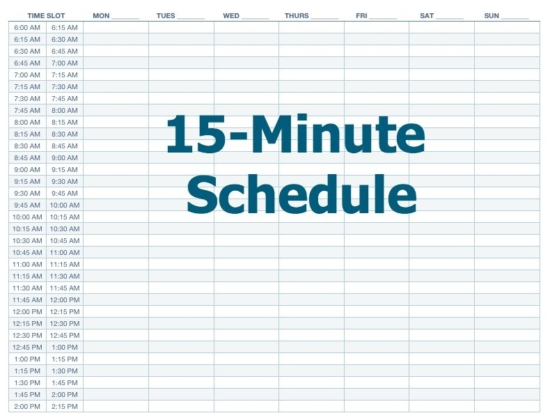 Printable Weekly Calendar With 15 Minute Time Slots Photo | Calendar Template 2020