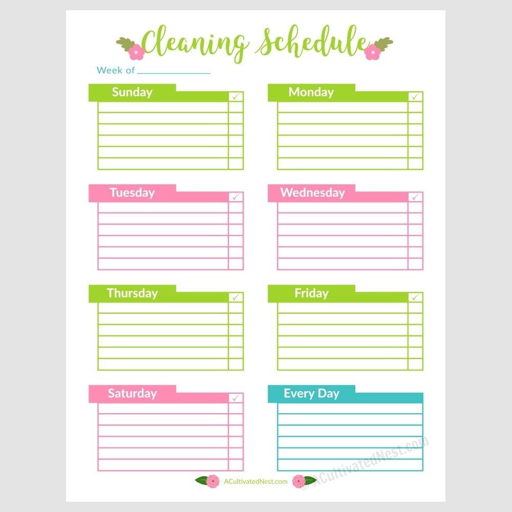 Printable Weekly Cleaning Schedule- A Cultivated Nest