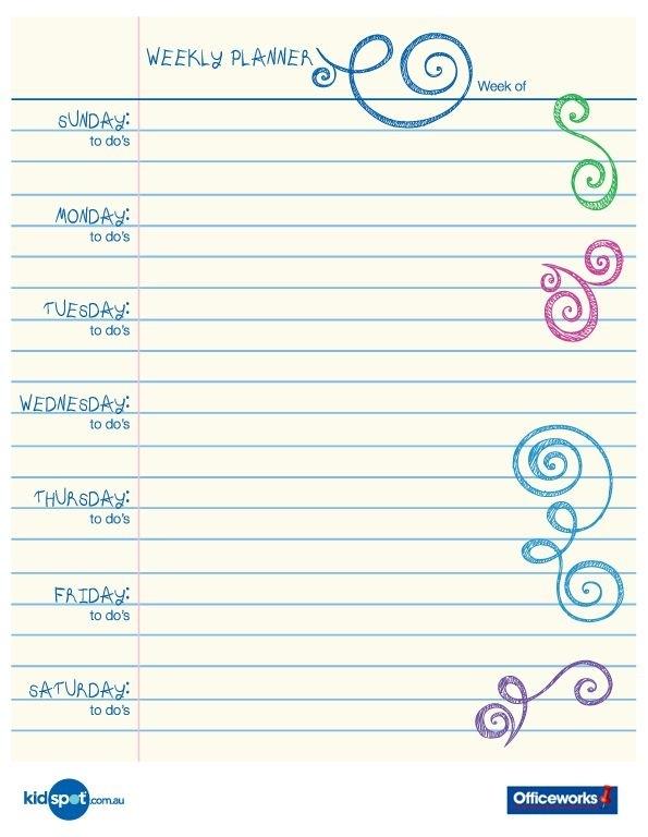 Printable Weekly Planner Calendars | Printable 15 Minute Organisation Chart | Planner Printables