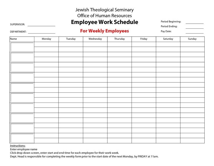 Printable+Employee+Work+Schedule+Template | Schedule Calendar, Monthly Schedule Template
