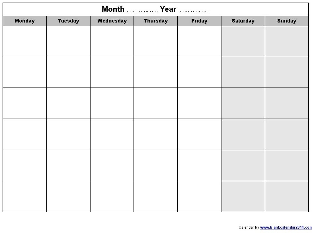 Remarkable Blank Monday To Friday Calendar Template • Printable Blank Calendar Template
