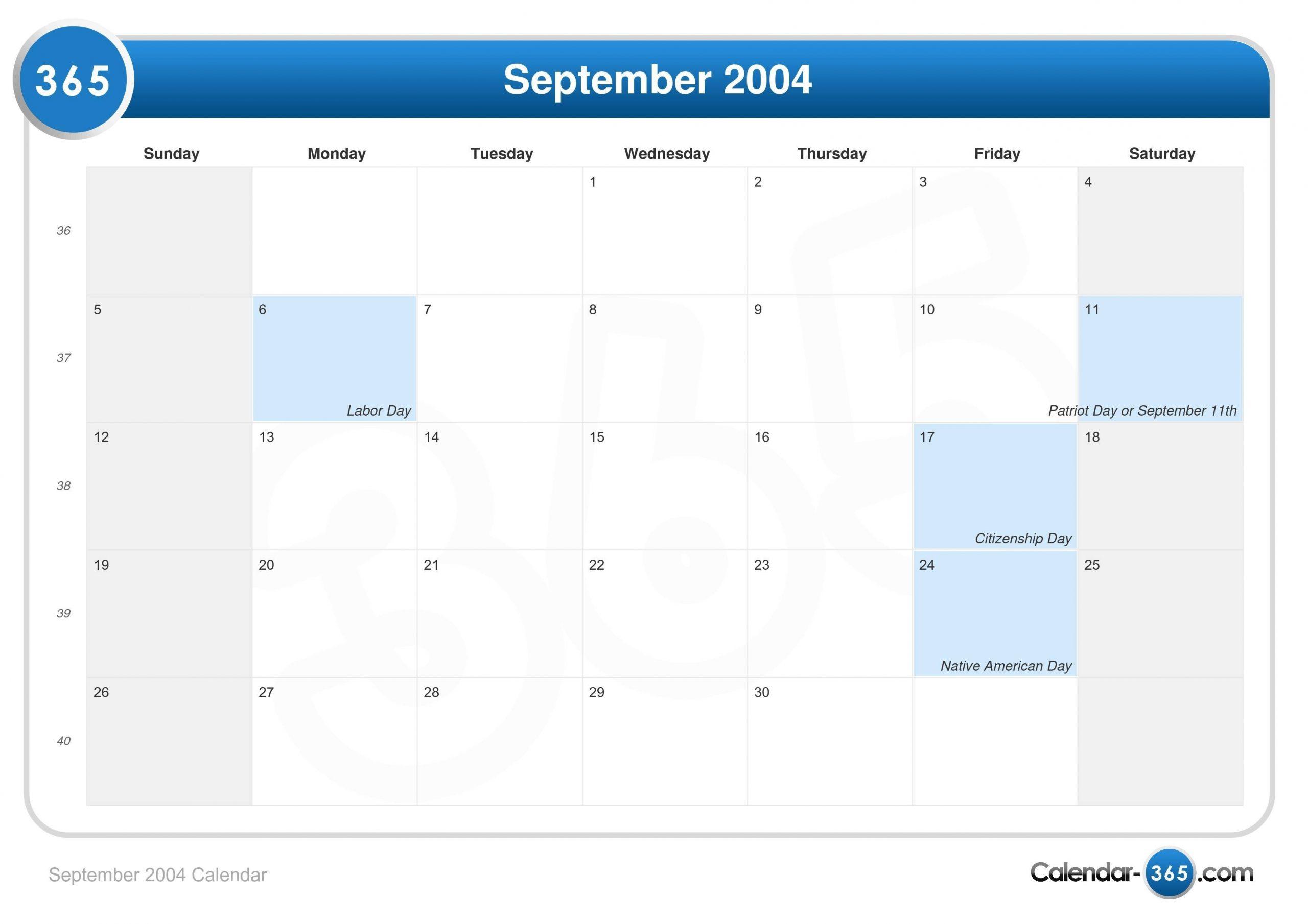 September 2004 Calendar