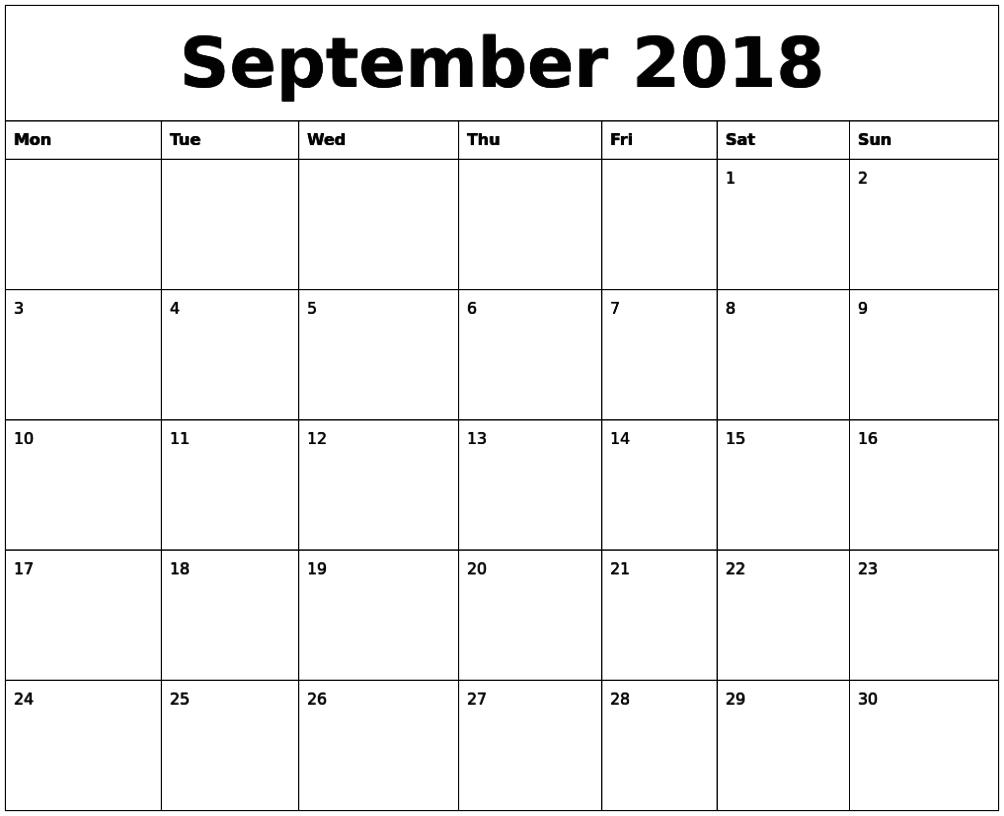 September 2018 Printable Editable Calendar Pdf   September Calendar, 2018 Printable Calendar