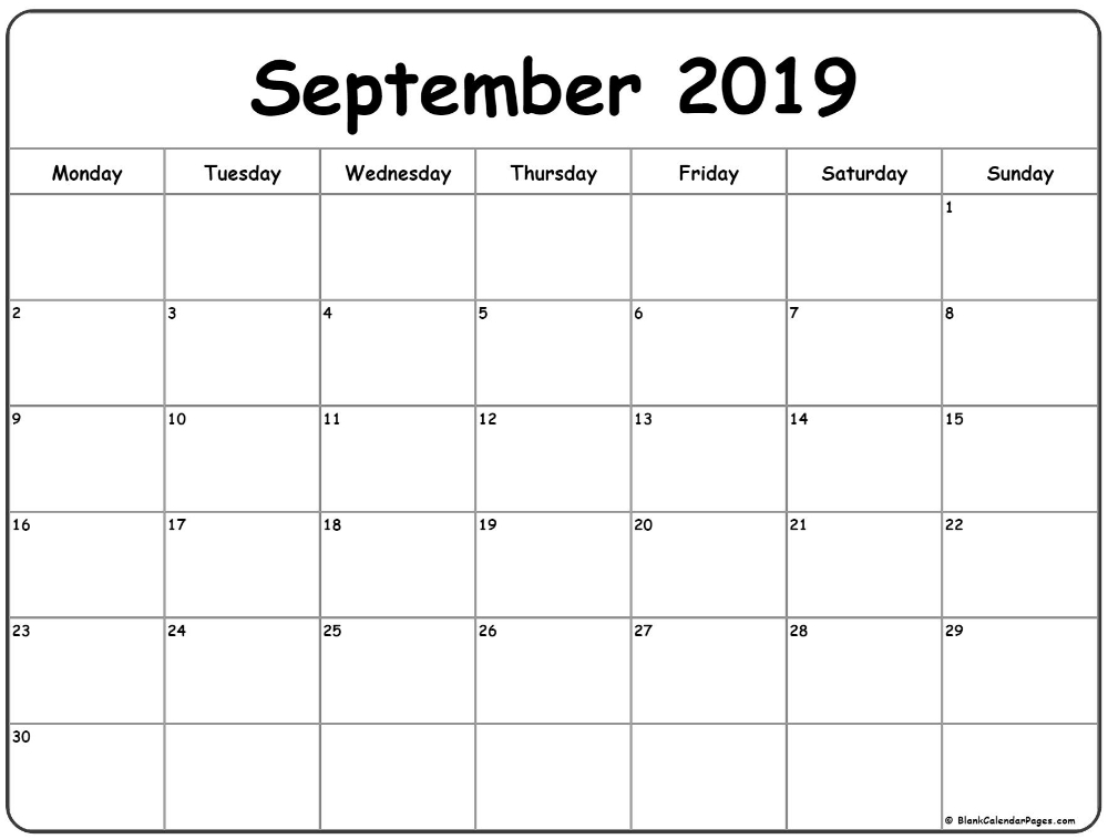 September 2019 Monday Calendar   Monday To Sunday   Calendar, Calender Printables, Calendar