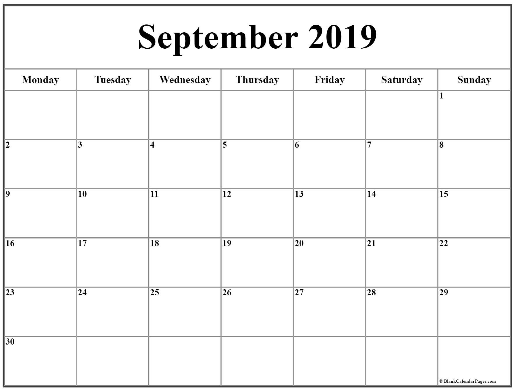 September 2019 Monday Calendar   Monday To Sunday
