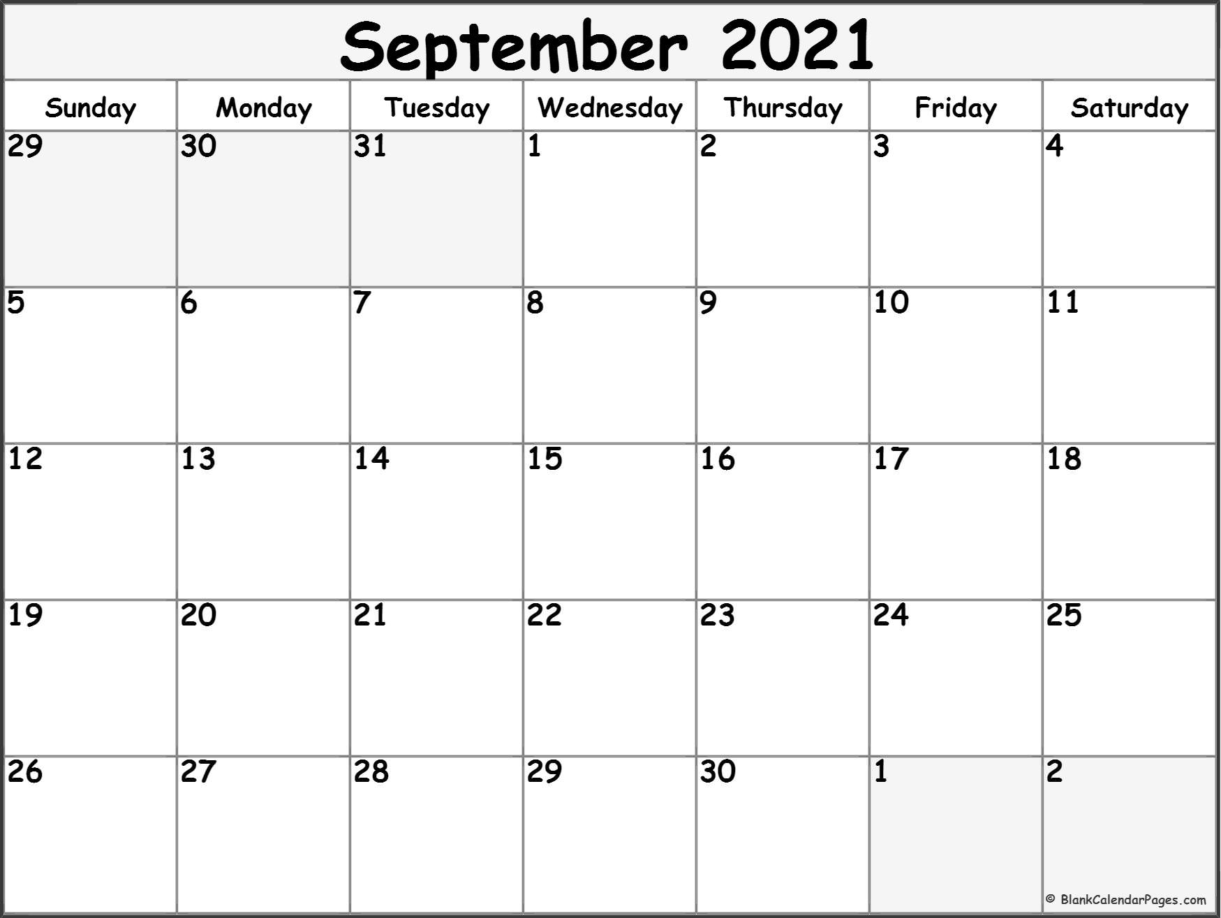 September 2021 Calendar | Free Printable Monthly Calendars