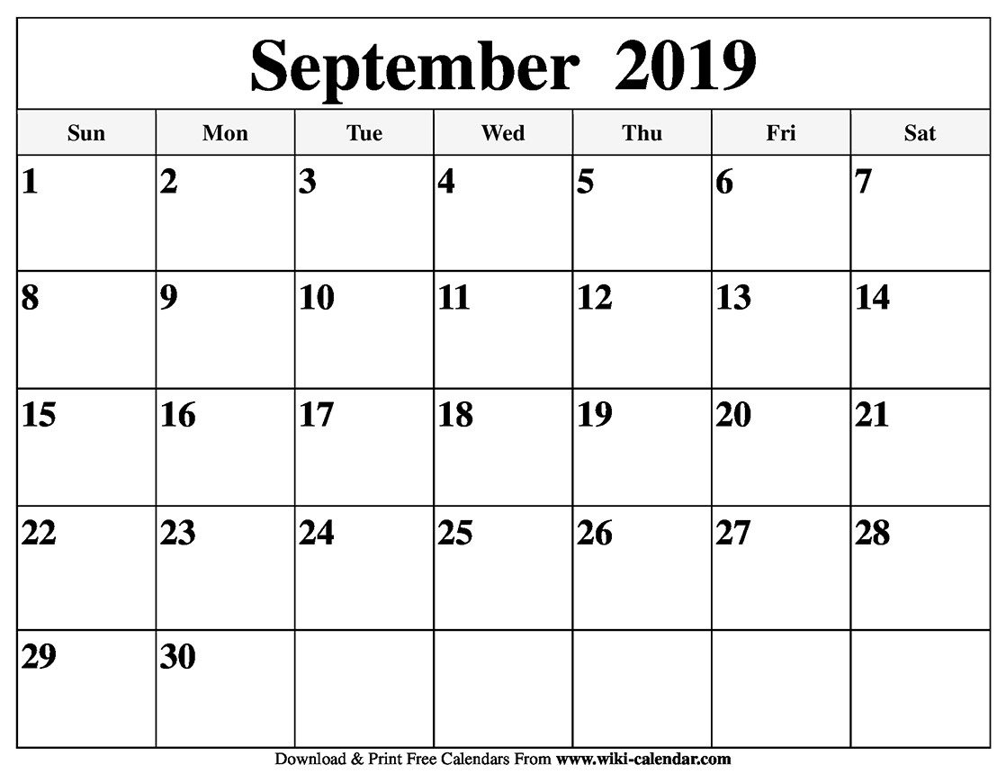 September Calendar 2019 Monday Through Sunday - Template Calendar Design