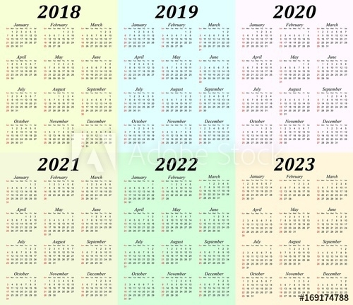 """Six Year Calendar - 2018, 2019, 2020, 2021, 2022 And 2023."" Stock Image And Royalty-Free Vector"