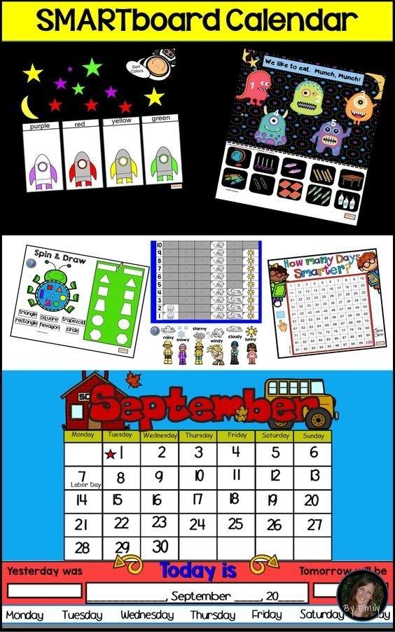Smartboard Calendar Fun - 12 Months Plus Common Core Activities   Kindergarten Calendar, Common