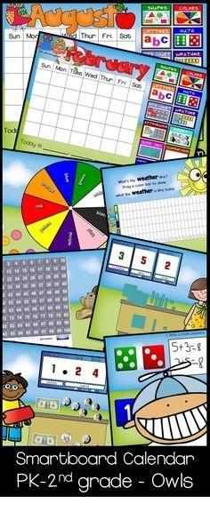 Smartboard Forever Calendar 'Owl Theme' Circle/Meeting/Carpet   Smartboard Calendar, Smart Board