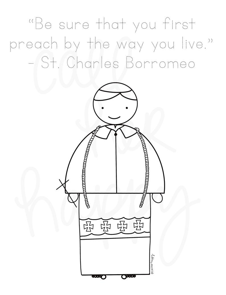St. Charles Borromeo Coloring Page Sheet Liturgical Year | Etsy