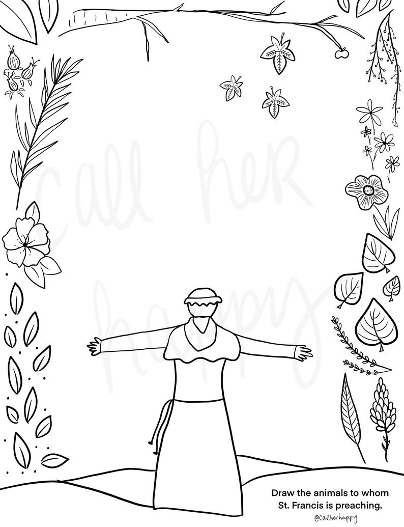 St. Francis Of Assisi Coloring Page Sheet Liturgical Year | Etsy