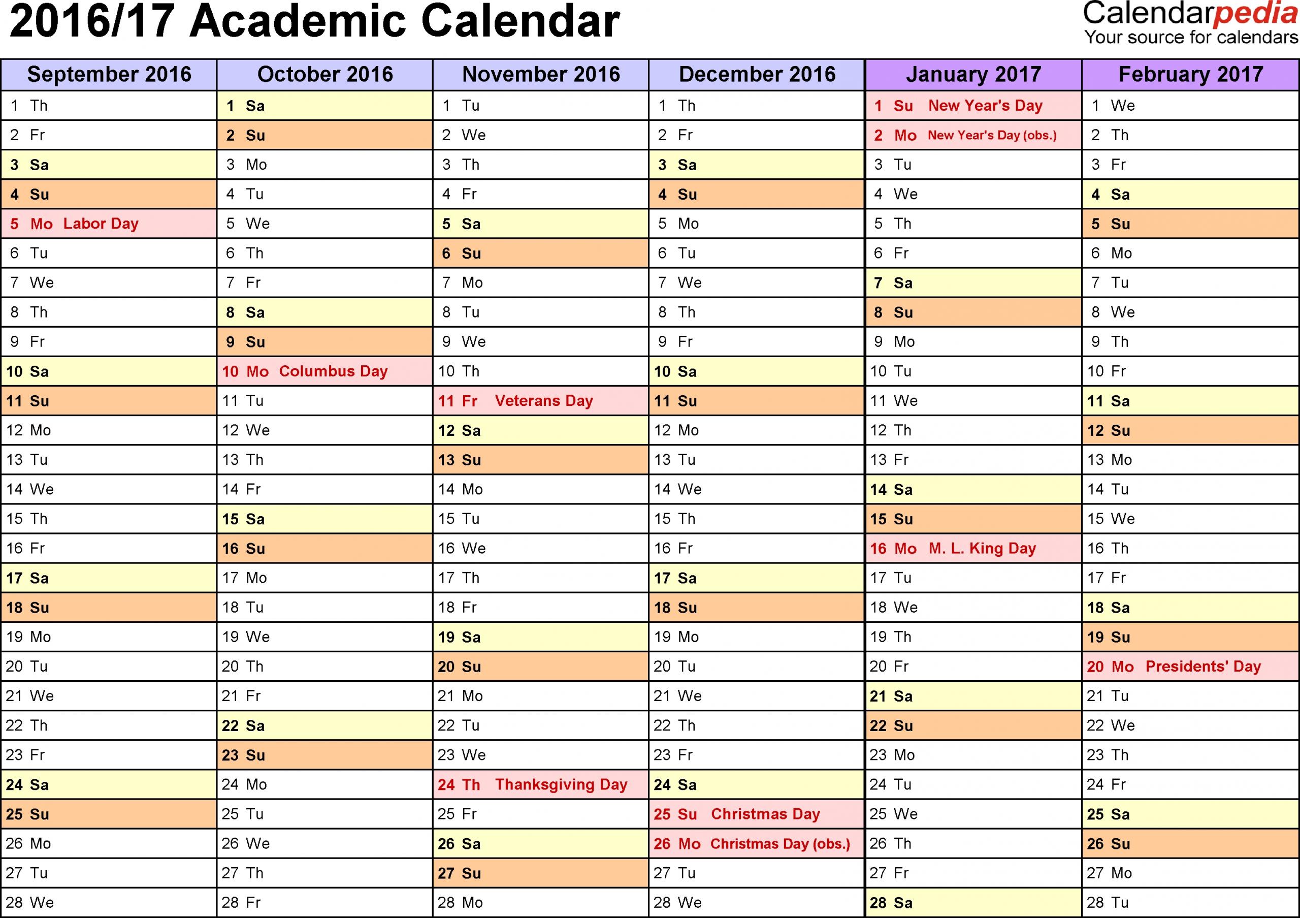 Template 3: Academic Calendar 2016/17 For Word, Landscape Orientation, Months Horizontally, 2