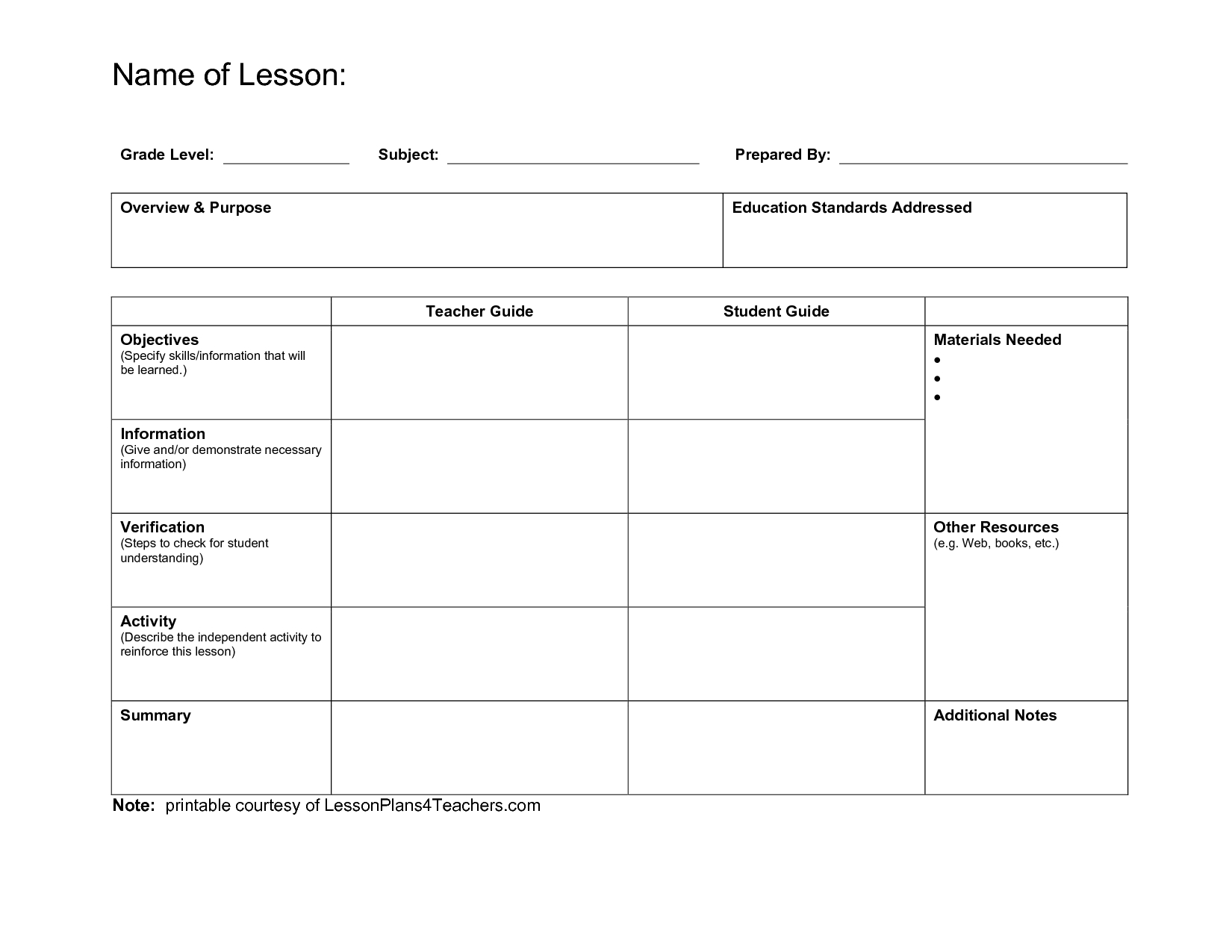 Template Example   Lesson Plan Templates, Lesson Plan Template Free, Printable Lesson Plans