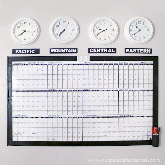 Time Zones Whiteboard Calendar & Free Printable