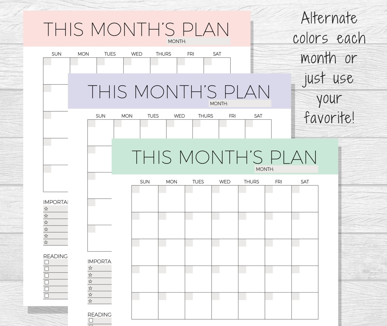 Undated Printable Monthly Calendar Free - Calendar Inspiration Design