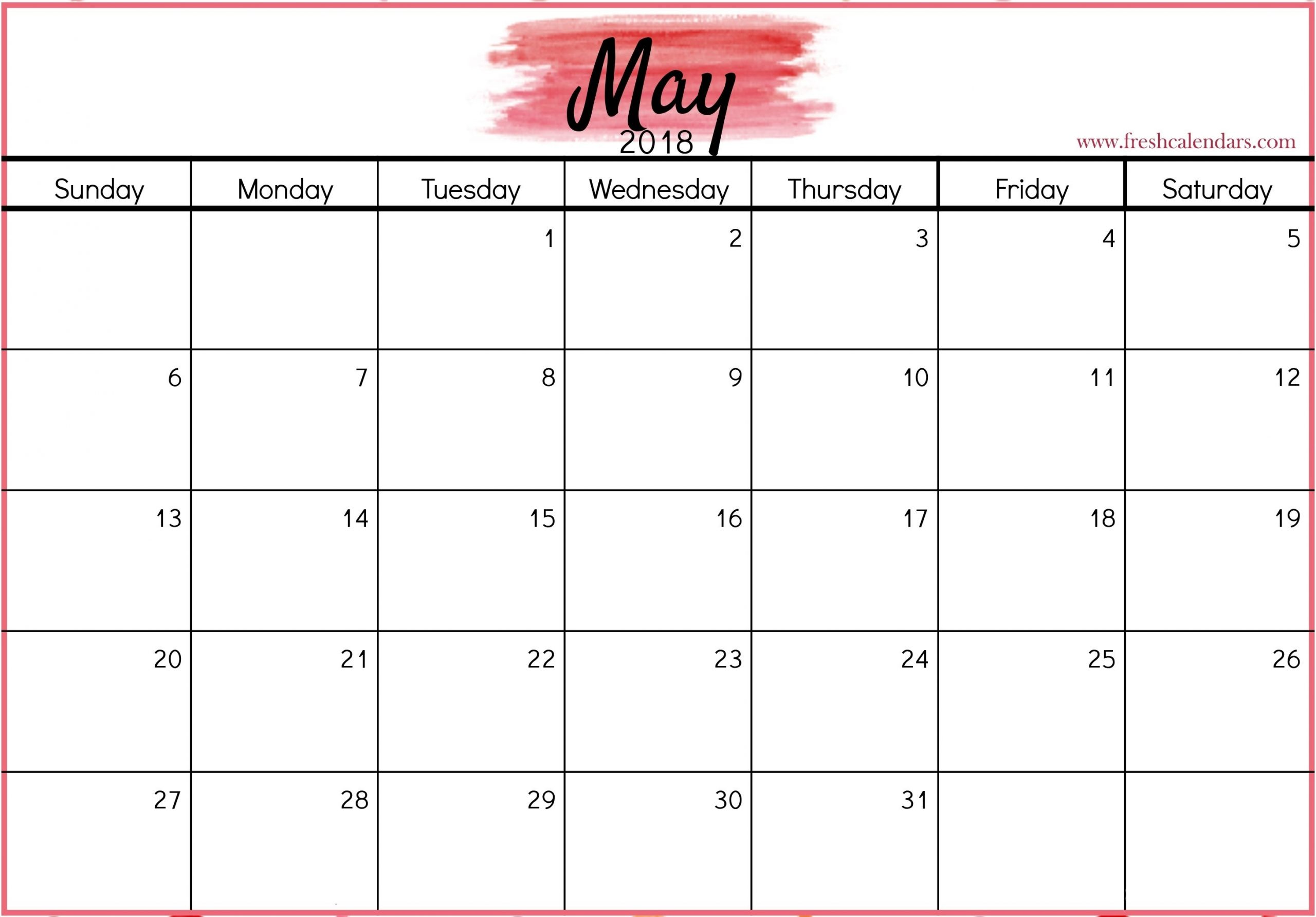 Want To Print Or Download A May 2018 Calendar Pink Color? Here You Can Download Or Print