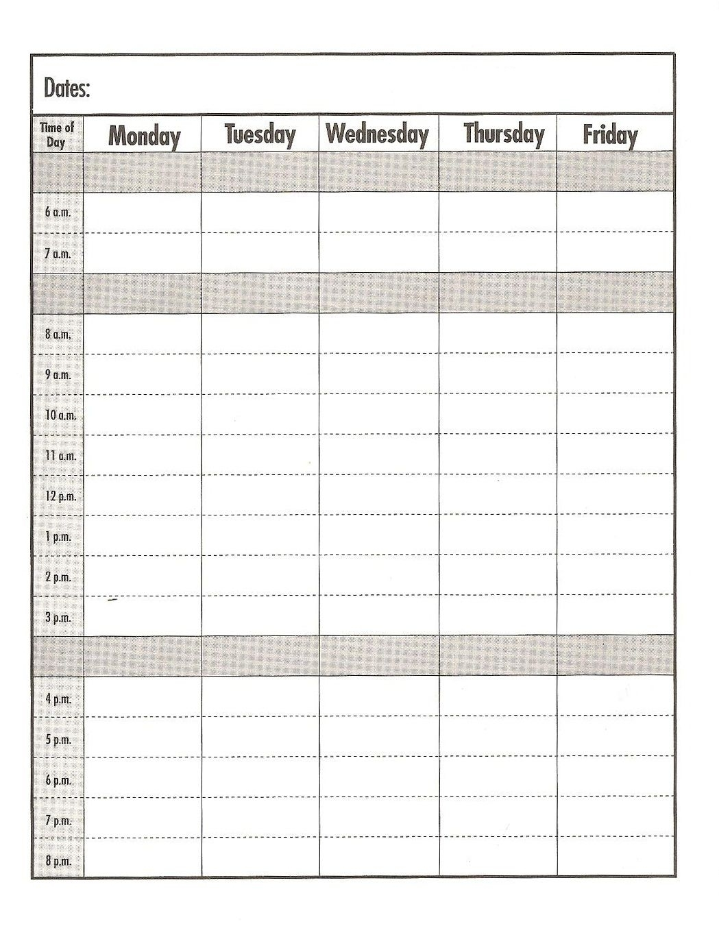 Weekday Schedule With Time Slots - Calendar Inspiration Design