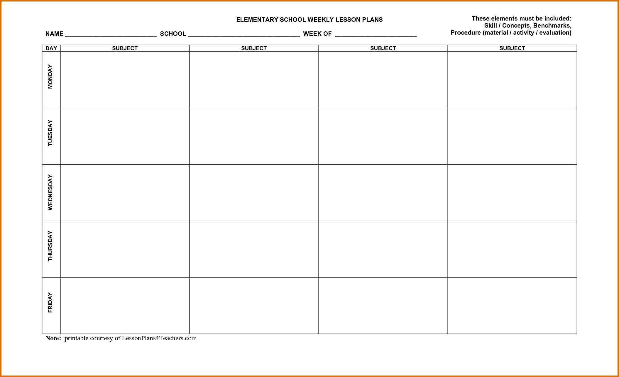 Weekly Lesson Plan Calendar Template   Calendar Template Printable