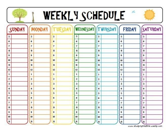 Weekly Schedule Printable - Task List Templates