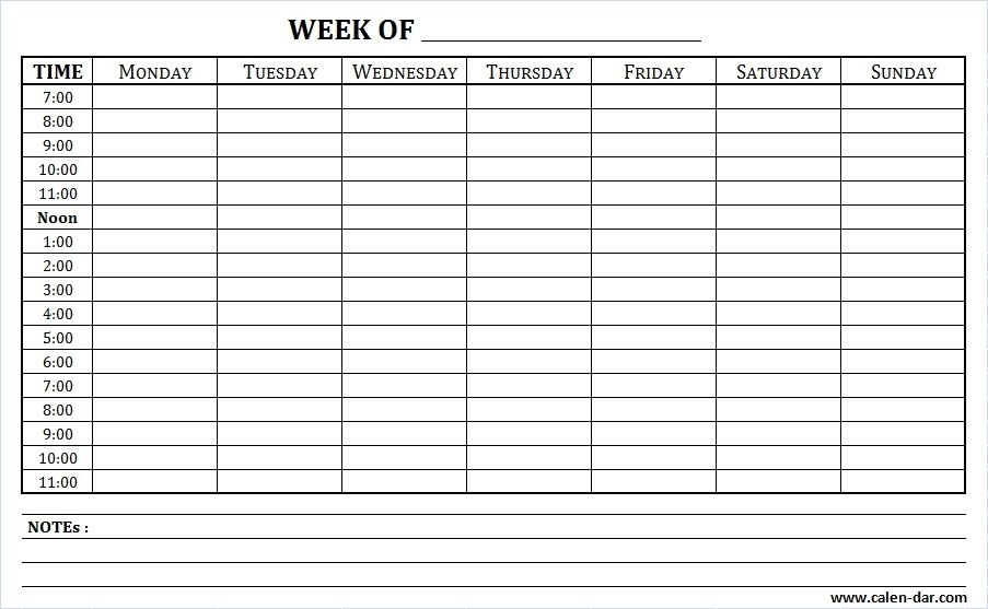 Weekly Schedule Printable With Times And Notes | Schedule Printable, Weekly Schedule, Weekly
