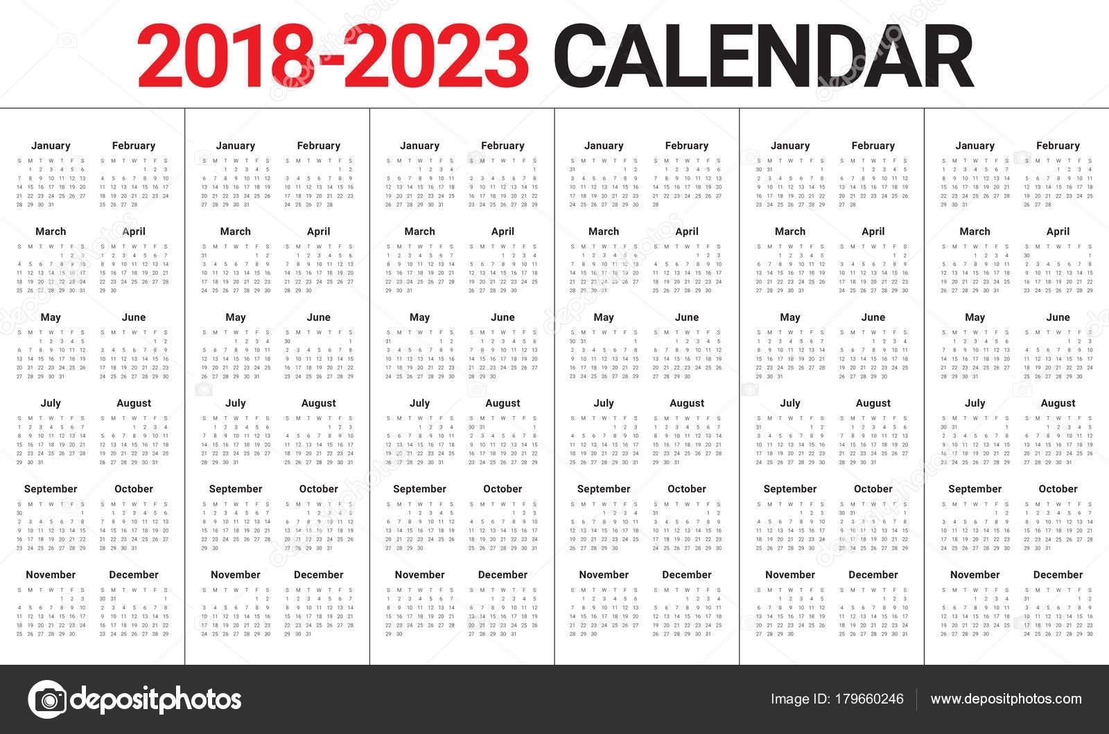 Year 2018 2019 2020 2021 2022 2023 Calendar Vector — Stock Vector © Dolphfynlow #179660246