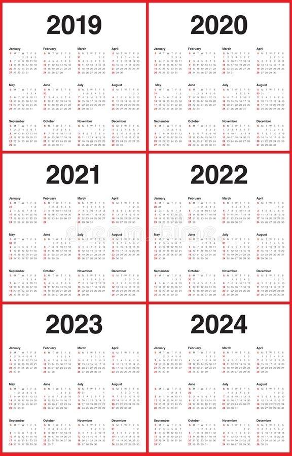 Year 2019 2020 2021 2022 2023 2024 Calendar Vector Design Templa Stock Vector - Illustration Of