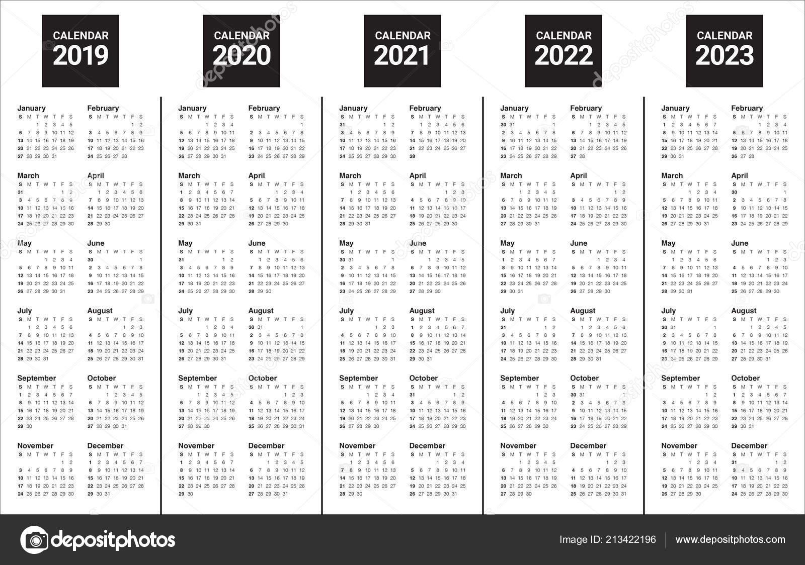 Year 2019 2020 2021 2022 2023 Calendar Vector Design Template — Stock Vector © Dolphfynlow