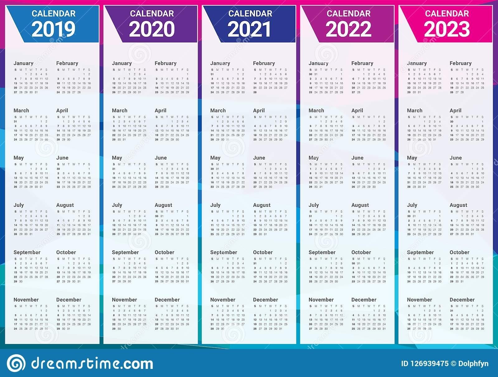 Year 2019 2020 2021 2022 2023 Calendar Vector Design Template Stock Vector - Illustration Of
