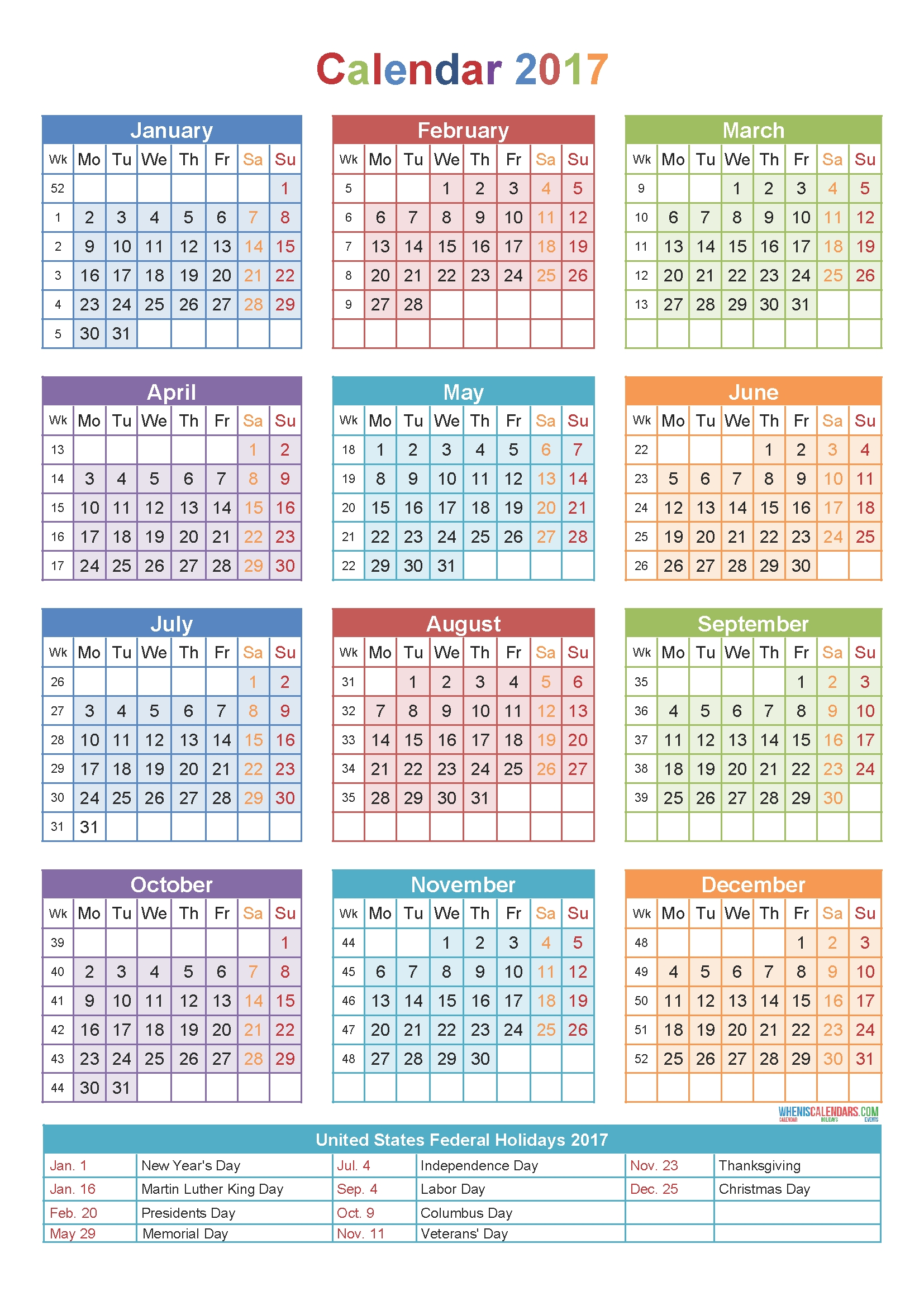 Year Calendar Numbered Weeks | Calendar Printables Free Templates